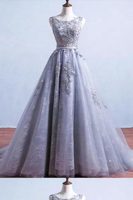 lavender party dress applique Long Prom Dresses, Sleeveless Prom Dresses, tulle formal Dresses