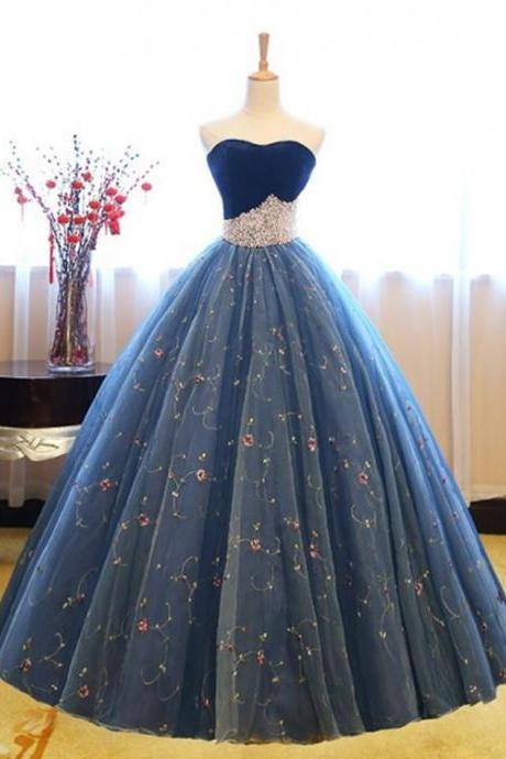 blue party dress strapless Long evening Dresses, applique Prom Dresses , tulle formal Dresses