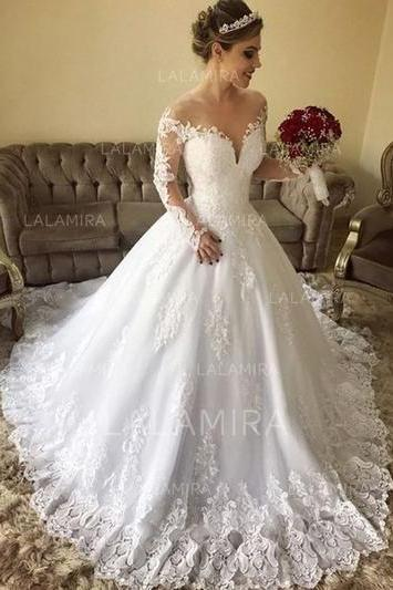 white wedding dress Off-The-Shoulder Ball-Gown Wedding Dresses Tulle Lace wedding dress Long Sleeves wedding dress applique wedding dress
