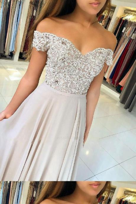 off shoulder party Dresses Long, Chiffon Prom Dresses, applique evening Dresses strapless Ball Gown Prom Dresses