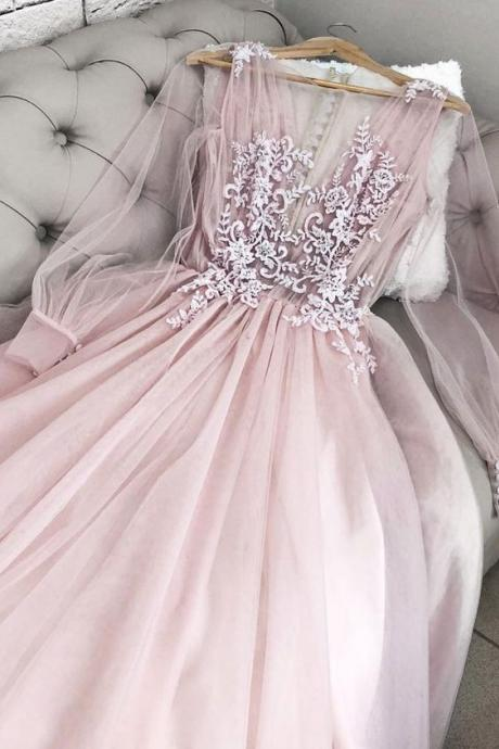 Pink party dress v neck tulle long prom dress, long sleeves evening dress tulle applique formal dress