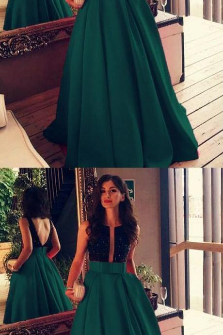 green party dress Beaded evening dress Bow Sashes prom dress Floor Length Satin Prom Dresses backless evening dress