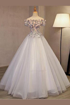white party dress tulle applique Prom Dress, off shoulder evening dress