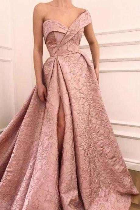 pink party dress Embroidery Lace Long prom dress One Shoulder Evening Dresses high split formal dress