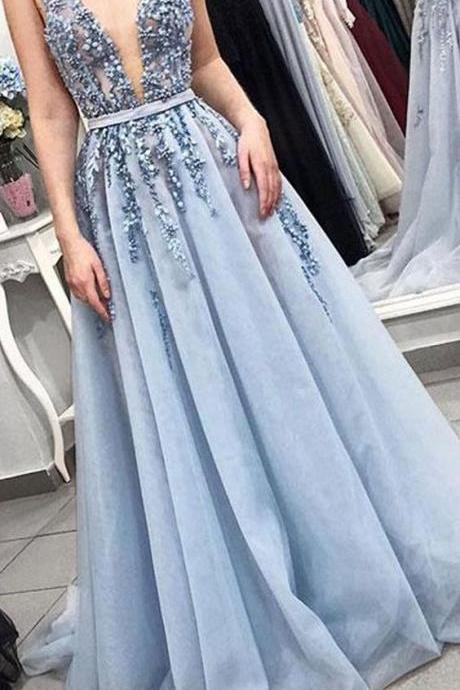 Blue party dress Sexy Deep V Neck evening dress Tulle Applique Long Prom Dresses,