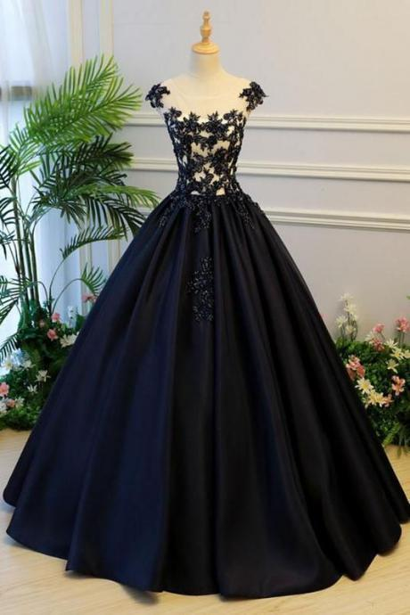 black party dress Lace-up Satin Long Prom Dress Appliques formal dress round collar evening dress