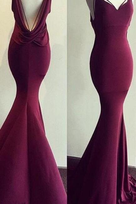 rose red party dress Sexy Mermaid dress spaghetti straps prom Dress v neck evening dress