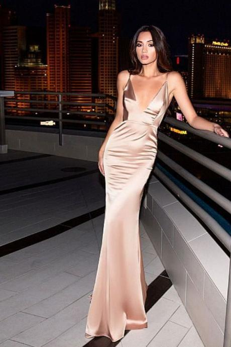 pink party dress Spaghetti Straps evening dress a deep v neck prom dress mermaid dress