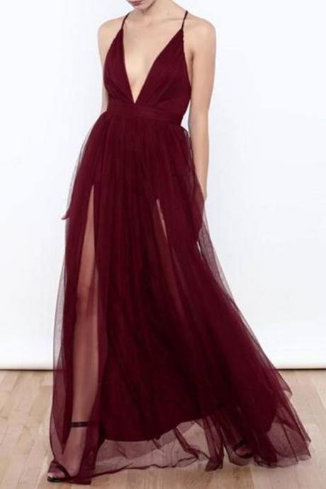 wine red party dress Sexy Backless evening dress Tulle Deep V Neck formal dress High Slit Prom Dress