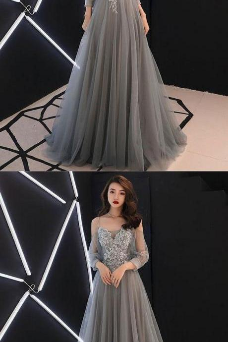 Gray party dress A-line tulle lace long prom dress, long sleeves evening dress applique formal dress off shoulder evening dress