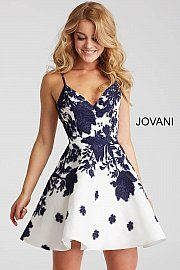 v neck party dress spaghetti straps evening dress Ivory and Navy Print formal dress and Flare applique Short Dress