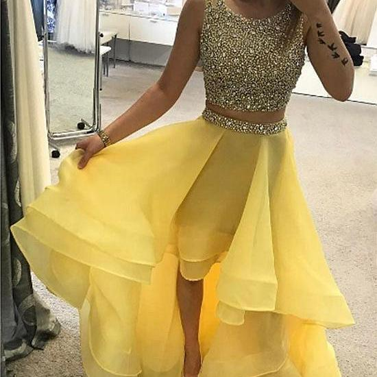 Luxurious A-Line Two-Piece Party Dress,High Low Yellow Homecoming Dress,Evening Dress,Custom Made