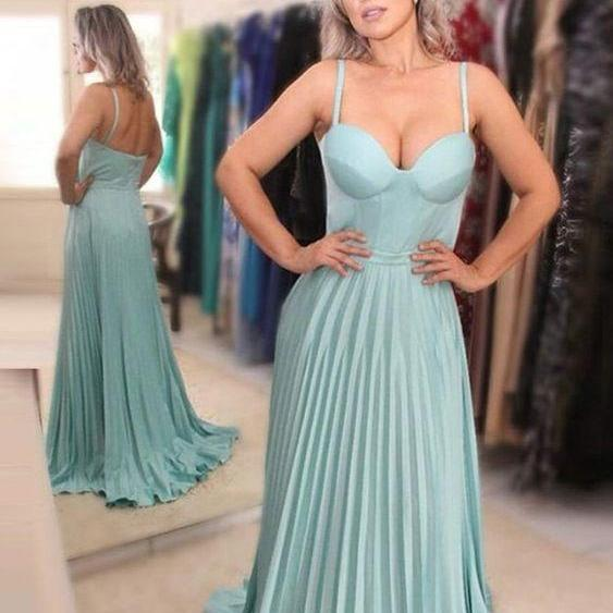 elegant light blue prom party dresses ,prom dress for special occasion, chic a-line spaghetti straps formal evening gowns