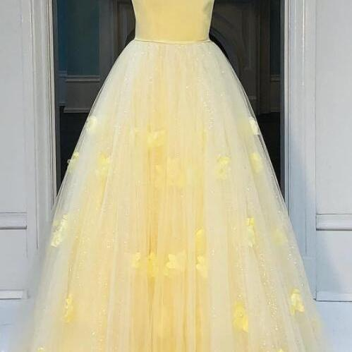 Princess Strapless A-line Party Dress, Yellow Long Prom Dress,Evening Dress,Custom Made