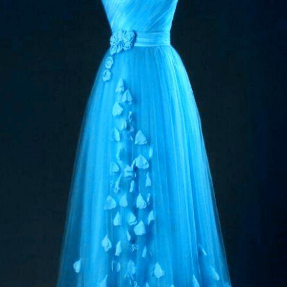 Blue One Shoulder Tulle Party Dress with Floral,Evening Dress,Custom Made