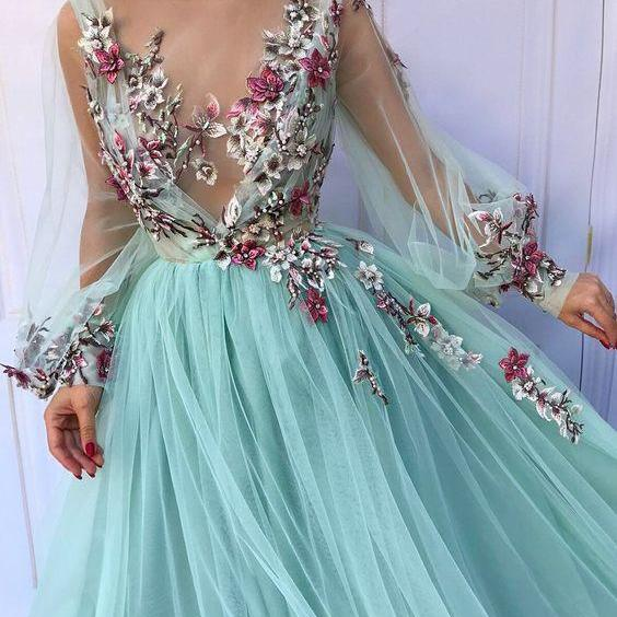 long prom dress,tulle party dress,long sleeve prom dress,flower evening dress,party dress with appliques
