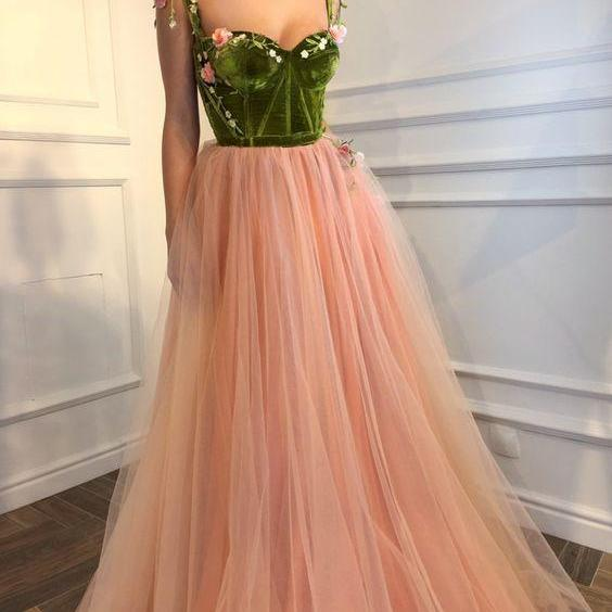 long prom dress,tulle party dress,flower evening dress,party dress with appliques