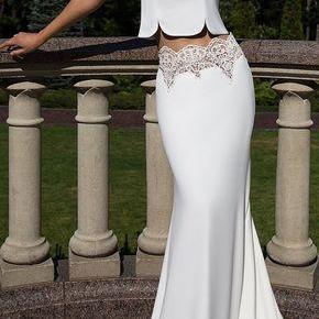Two Pieces Prom Dress,Party Dress ,White Mermaid Evening Dress