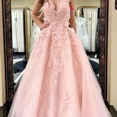 v-neck evening dress Floor Length Party Dress with Appliques, ball gowns Long Prom Dress with Flower