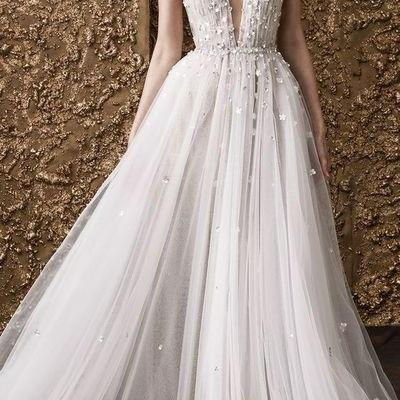 Deep V Neck Prom Dress,Long Evening Dress,Sexy Weeding Dress from party dress white wedding dress