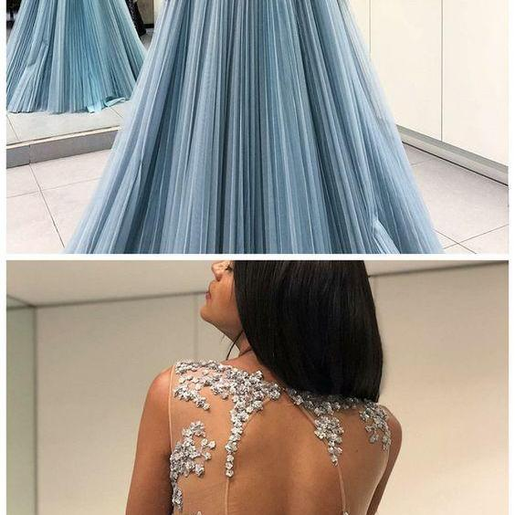 A-Line evening dress Round Neck prom dress Open Back party dress Sheer Long Blue Prom Dress with Appliques
