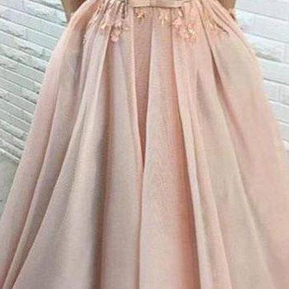 Blush evening dress Pink Tulle prom dress Applique party dress Off Shoulder Prom Dresses,