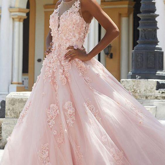 spaghetti ball gowns appliques Long Prom Dress Formal Dresses tulle Party Dress